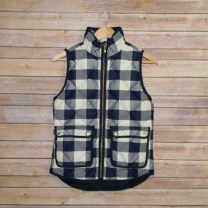 J.Crew Navy Plaid Puffer Vest